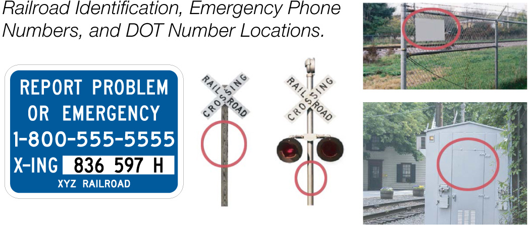 Railroad identification, emergency phone numbers, and DOT number locations.